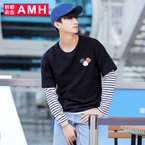 AMH 男装韩版 2017春季新款圆领男士时尚拼接长袖T恤潮男