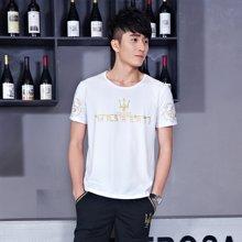 史克维斯圆领印花短袖衣短裤韩版运动套装休闲运动服男装潮TD8601