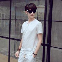 史克维斯夏季男式亚麻短袖t恤套装居家休闲潮韩版修身男士棉麻休闲运动套装ST6801