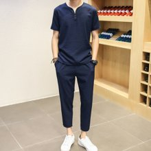 史克维斯中国风大码男装男士麻料套装棉麻短袖T恤长裤亚麻t桖衫纯色两件套TZ887LFC