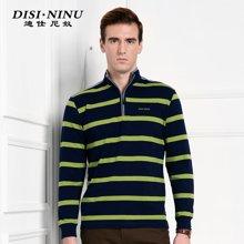 迪仕尼奴秋冬新款长袖T恤男士条纹立领商务打底衫修身保暖男装8626A