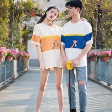 搭歌新款韩版bf撞色印花短袖t恤男女宽松半袖体恤情侣装3649A