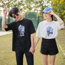 搭歌新款韩版宽松搀扶老人印花图案体恤衫男女短袖T恤情侣装3662