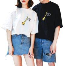 搭歌情侣装夏装半袖新款t恤bf风韩版宽松男女短袖刺绣体恤3601
