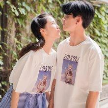 搭歌新款情侣装ins短袖夏季韩版搞怪猫咪男女情侣上衣T恤3669