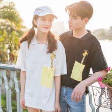 搭歌新款男女短袖情侣装韩版t恤休闲宽松口袋卡通图案Polo领半袖3644