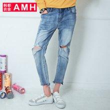 AMH男装韩版2018夏季新款潮流弹力破洞九分牛仔裤男QO7486夢