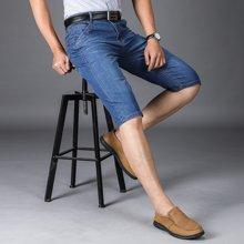 搭歌夏季新款直筒五分裤休闲男式牛仔青年短裤8016