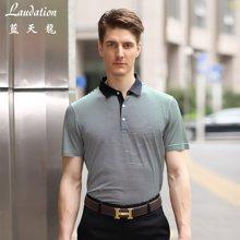 蓝天龙 春夏新款 棉混纺条纹商务短袖T恤7821