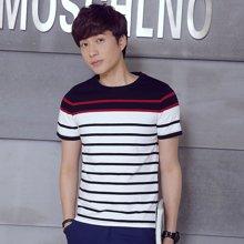 卓狼夏季新款条纹男士短袖T恤青年衣服半截袖体恤打底衫韩版修身男装ZT1601