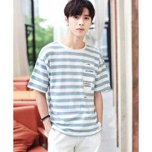 花花公子贵宾 2018夏季新款韩版青少年条纹T恤潮流男短袖上衣