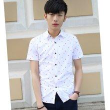 花花公子贵宾 2018夏季新款韩版修身薄款短袖大码男士衬衫星星点点图案打底衫上衣