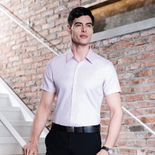 Evanhome/艾梵之家 新款DP成衣免烫衬衫男短袖商务修身型男士衬衣淡紫色温莎领EDDP2104