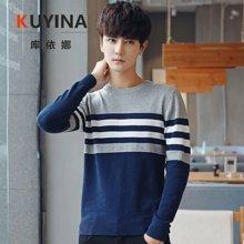 库依娜男圆领中年新款韩版秋季休闲纯色长袖套头针织衫男士毛衣M17040