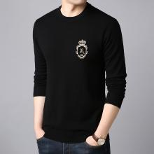 沐羊纯羊毛衫圆领青年个性绣图针织打底衫男士修身韩版毛衣C6508