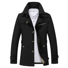 卓狼新款男士夹克春季中长款外套英伦薄款休闲风衣翻领修身大码男装J5793
