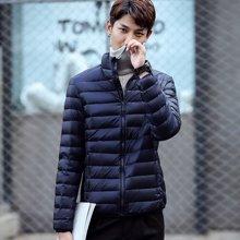 花花公子贵宾 2017秋冬装新款韩版立领修身青少年纯色白鸭绒外套男士轻薄羽绒服
