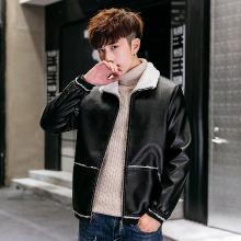 卓狼男士皮衣秋冬季时尚毛领加厚修身韩版加绒皮夹克帅气青年保暖外套男装PR817QG