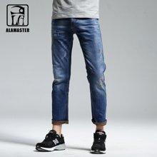 A LA MASTER 男士牛仔裤 直筒修身复古破洞弹力牛仔裤162045