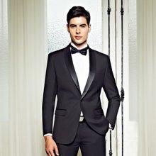 Evanhome/艾梵之家 春季新款黑色小西装男士修身款新郎结婚西服套装商务正装EVXF094