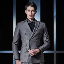 Evanhome/艾梵之家 男士西服外套修身款商务职业套装灰色条纹双排扣西装二件套EVXF090