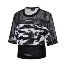 李宁T恤女士2018新款篮球系列短袖圆领宽松运动衣女装夏季运动服AWDN116