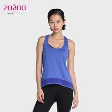 佐纳(ZOANO) 夏季 女 健身瑜伽 镂空露背 速干修身网纱拼接无袖运动背心