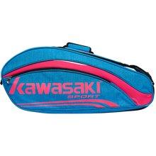 川崎KAWASAKI 正品羽毛球包运动包双肩包六支装KBB-8652蓝红