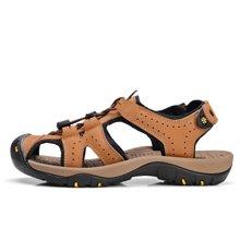 乐嘉途夏季男凉鞋运动休闲鞋男户外沙滩鞋防滑夏天鞋牛皮包头凉鞋L2038