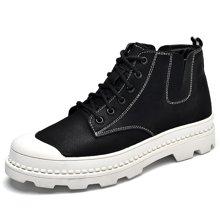 乐嘉途马丁靴男士中高帮雪地短靴真皮英伦男鞋春季工装鞋休闲男潮靴L2063