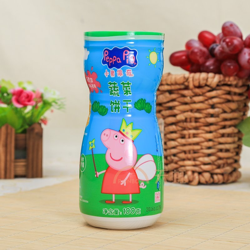 tq小猪佩奇蔬菜饼干胶罐(100g)