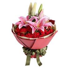 感激----29枝红康乃馨,2枝粉百合