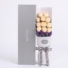 恰似你的温柔----精品玫瑰礼盒,香槟玫瑰11枝、深紫色勿忘我0.3扎