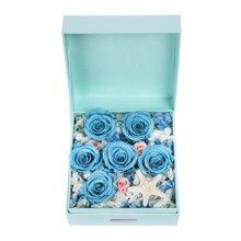 深海秘境----进口永生蓝玫瑰6枝,浅粉桃色玫瑰3枝