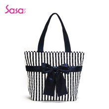 Sasa/萨萨 泰国曼谷包空姐包单肩手提女包条纹印花布包袋休闲水桶包SAE51-H0505