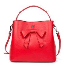 海谜璃新款女包头层牛皮女士手提包水桶包时尚甜美蝴蝶结单肩包斜挎包H6965