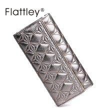 Flattley/福拉特利 羊皮手拿包女士长款钱包三折大钞钱包
