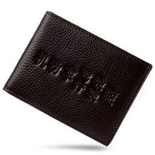 GSQ古思奇 男士钱包短款头层牛皮 男款薄皮夹驾驶证套 头层牛皮商务钱夹礼盒 黑色横款1191
