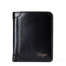 丹爵  新款男包油蜡头层牛皮两折钱包短款皮夹多功能票夹礼盒装D6022-2-3黑色