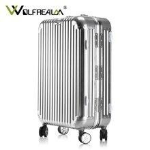 狼域铝合金铝框拉杆箱万向轮女高档镁铝金属旅行箱登机箱行李箱