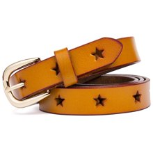 海谜璃  二层牛皮针扣女皮带时尚五角星镂空女士腰带腰链 H63