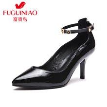 富贵鸟(FUGUINIAO) 新潮尖头一字式扣带女单鞋优雅酒杯跟女鞋子 F69C280-1