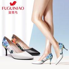 富贵鸟(FUGUINIAO)时尚头层羊皮猪皮内里印花酒杯跟女高跟鞋 F67Y612K