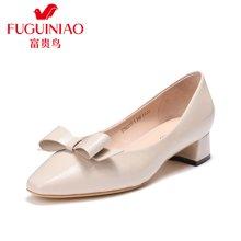 富贵鸟女鞋粗跟单鞋女 尖头中跟工作鞋女 F76G617-1