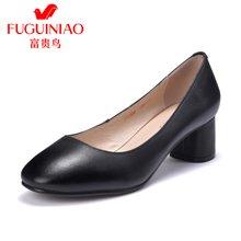 富贵鸟 粗跟单鞋女 中跟方头鞋黑色皮鞋 F79Y308C