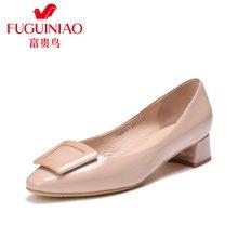 富贵鸟女单鞋女 粗跟中跟工作鞋黑色尖头鞋漆皮鞋 F76G615-1