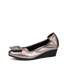 LESELE/莱思丽春季新款舒适牛皮浅口女鞋子 尖头坡跟鞋高跟单鞋女KE71-LA0571