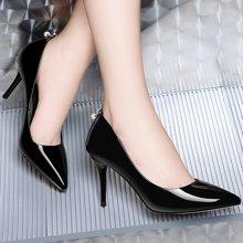 莱卡金顿 职业高跟鞋女细跟2018春季新款韩版百搭尖头皮鞋女士浅口单鞋 LK/6181