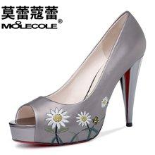 莫蕾蔻蕾2017新款性感时尚优雅鱼嘴高跟鞋细跟女鞋  70152