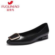 富贵鸟女鞋 尖头浅口单鞋女方扣低跟工作鞋 F76G655K